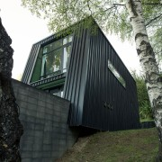 Black House part one - Queenstown Arch architecture, building, cottage, facade, home, house, hut, tree, wood, black