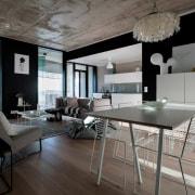 The Tervahovi Silos / PAVE Architects architecture, floor, furniture, house, interior design, living room, loft, table, gray, black