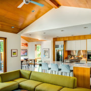 The kitchen is certainly the heart of this ceiling, home, house, interior design, living room, real estate, room