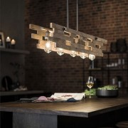 The Cuyahoga Mill features reclaimed driftwood for a ceiling, interior design, light fixture, lighting, table, wood, black