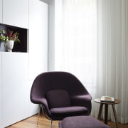 A closer view of one of the pieces angle, chair, couch, curtain, floor, flooring, furniture, interior design, living room, product design, recliner, table, wall, window covering, white, gray