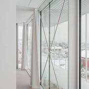 Reinforcements run across these windows architecture, daylighting, door, glass, house, interior design, window, gray