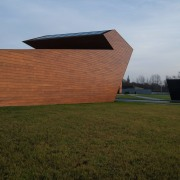 New brandy warehouse by TOTEMENT/PAPER architecture, building, cloud, field, grass, house, rural area, sky, structure, wood, brown