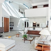 This shot clearly shows the benefit of the ceiling, daylighting, floor, home, interior design, interior designer, living room, loft, room, white, gray