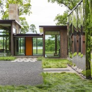 The so-called 'mystery object' reflects the natural surroundings architecture, backyard, courtyard, estate, facade, home, house, property, real estate, yard
