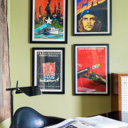 Framed posters bring colour into this space furniture, interior design, table, yellow