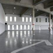 569 firestation architecture, daylighting, floor, flooring, hall, structure, gray