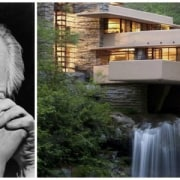Frank Lloyd Wright and his famous Fallingwater home, water, gray