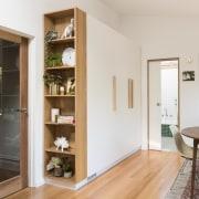 Architect: Drawing Room ArchitecturePhotography by Dan Fuge door, floor, furniture, interior design, shelf, shelving, wood, white