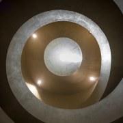 Looking up, it's like viewing a seashell circle, daylighting, light, lighting, sphere, black