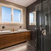 TIDA NZ 2017 – Designer renovation winner – bathroom, floor, flooring, interior design, laminate flooring, room, sink, tile, wood flooring, gray, black