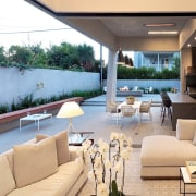 A view of the outdoor area during the home, house, interior design, living room, property, real estate, orange