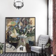 The old meets the new furniture, home, interior design, living room, room, table, wall, white