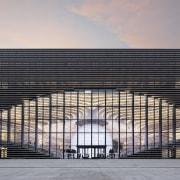 Tianjin Binhai Library, by MVRDV and Tianjin Urban architecture, building, commercial building, corporate headquarters, daytime, facade, headquarters, landmark, line, metropolis, metropolitan area, reflection, residential area, sky, skyscraper, structure, urban area, gray, black