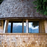 A balcony with unmatched views cottage, facade, home, house, hut, log cabin, shack, shed, tree, window, wood, black