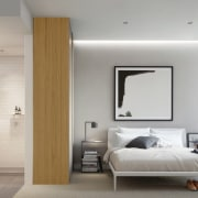 The spacious bathroom off this bedroom is a bedroom, ceiling, floor, home, interior design, interior designer, room, wall, gray