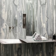 The bathroom, showcasing the material on the wall curtain, furniture, interior design, textile, wall, window, window treatment, wood, gray