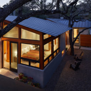 The architect took every opportunity to maximise natural architecture, backyard, facade, home, house, lighting, outdoor structure, property, real estate, roof, window, black