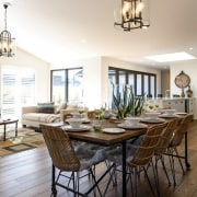 Classic weatherboards and roof tiles give this GJ dining room, estate, home, interior design, living room, property, real estate, room, table, white, brown