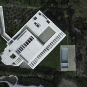 The various elements of the home from above architecture, building, facade, home, house, property, real estate, roof, black