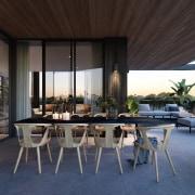 Treehouse at Parkside Walk – MJA Studio house, interior design, patio, real estate, table, black