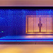 The Japanese influence is clear in this space blue, display device, interior design, light, lighting, blue, red