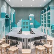 Neobio Family Park architecture, furniture, interior design, product design, table, gray
