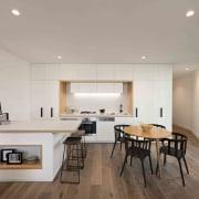 Promenade Aqui by Woods Bagot ceiling, floor, flooring, interior design, living room, real estate, gray