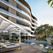 Treehouse at Parkside Walk – MJA Studio apartment, architecture, building, condominium, estate, house, mixed use, property, real estate, residential area, resort, white, gray
