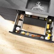 Slim, minimalist design and diverse setting options – floor, flooring, furniture, product design, table, wood, yellow