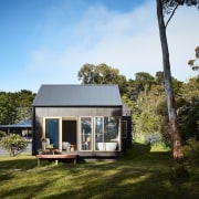 The bathroom and accompanying deck architecture, cottage, estate, farmhouse, home, house, property, real estate, brown