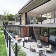 A view down to one of the sunken house, outdoor structure, real estate, gray, white