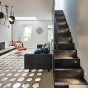 Andy Martin Architecture – Renovation in London floor, flooring, interior design, living room, loft, stairs, gray