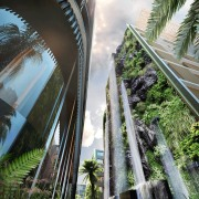 A concept of the finished waterfall. architecture, arecales, bridge, building, metropolitan area, palm tree, plant, sky, tree, water, black