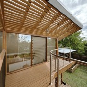 This deck is perfectly suited to the Australian architecture, daylighting, deck, house, outdoor structure, pergola, real estate, roof, shade, wood, brown