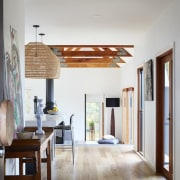 Looking down the hallway into the lounge architecture, ceiling, door, floor, flooring, hardwood, home, house, interior design, room, wood, wood flooring, gray