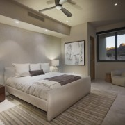 One of the bedrooms features a desert outlook architecture, bed frame, bedroom, ceiling, estate, floor, home, interior design, property, real estate, room, suite, gray