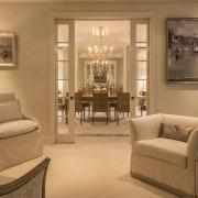 Looking into the dining room floor, flooring, furniture, home, interior design, living room, room, window, brown, orange