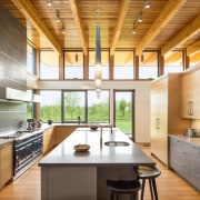 The exposed ceiling echoes the home's rural surroundings architecture, cabinetry, ceiling, countertop, cuisine classique, daylighting, interior design, kitchen, real estate, brown, white