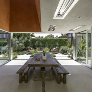 The dining room table is a reflection of architecture, daylighting, estate, house, interior design, property, real estate, gray