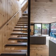 Mitchell Coll of Coll Architecture for Madras Street architecture, daylighting, floor, handrail, hardwood, home, house, interior design, real estate, stairs, wood, brown, gray