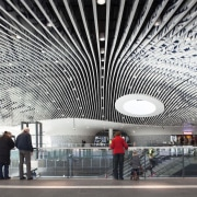 Municipal Offices and Train Station, Delft airport terminal, architecture, building, ceiling, daylighting, infrastructure, metropolitan area, structure, tourist attraction, white, gray, black