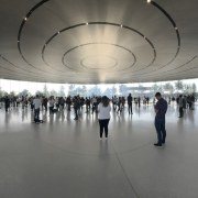 The ceiling hangs like a flying saucer over airport terminal, architecture, infrastructure, structure, tourist attraction, gray