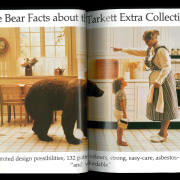 An ad that wouldn't look out of place furniture, human behavior, mammal, product, table, white