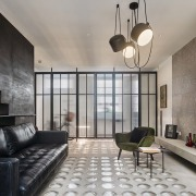 Andy Martin Architecture – Renovation in London architecture, ceiling, floor, interior design, living room, lobby, real estate, room, wall, gray, black