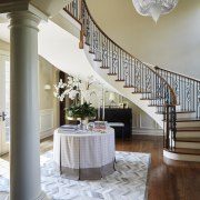 This low pile means little to no chance architecture, baluster, ceiling, column, estate, floor, flooring, furniture, handrail, home, interior design, living room, stairs, structure, table, gray, brown
