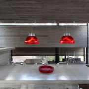 A simple light arrangement manages to draw your architecture, house, interior design, gray, black