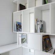 Ample space for magazines, records and other items bookcase, desk, furniture, interior design, office, product design, shelf, shelving, gray, white