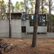 The home rises up out of the surrounding architecture, house, real estate, tree, black, brown, gray