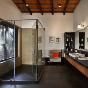 Architect: Studio PKA http://www.purankumar.com/Photographer: Amit Pasricha ceiling, floor, flooring, interior design, real estate, room, black, gray, brown